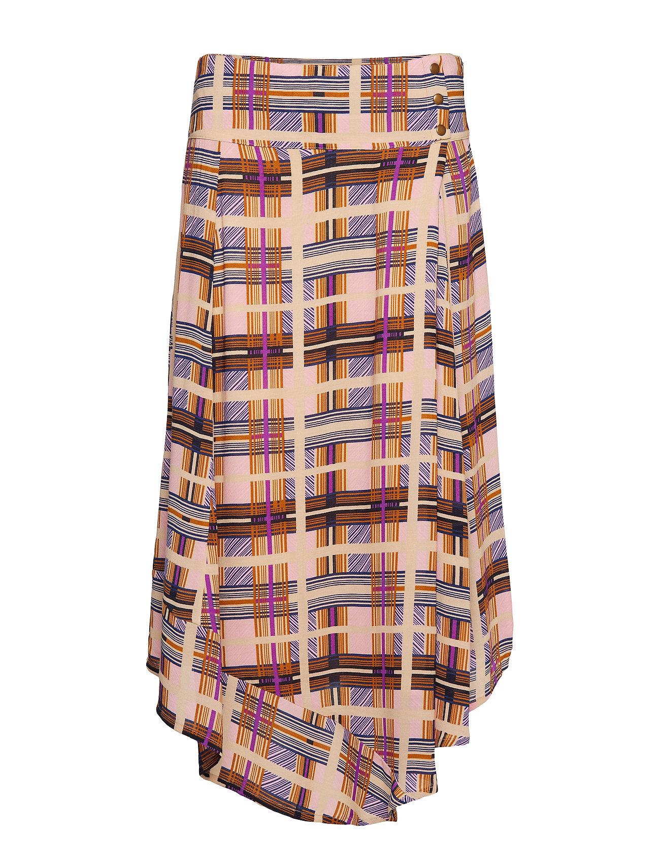 Cream Checka Skirt - DACHSHUND BROWN