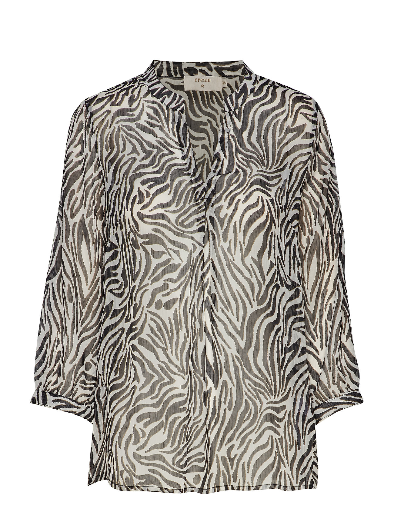 Cream Sama Shirt l/s - PITCH BLACK / ZEBRA PRINT