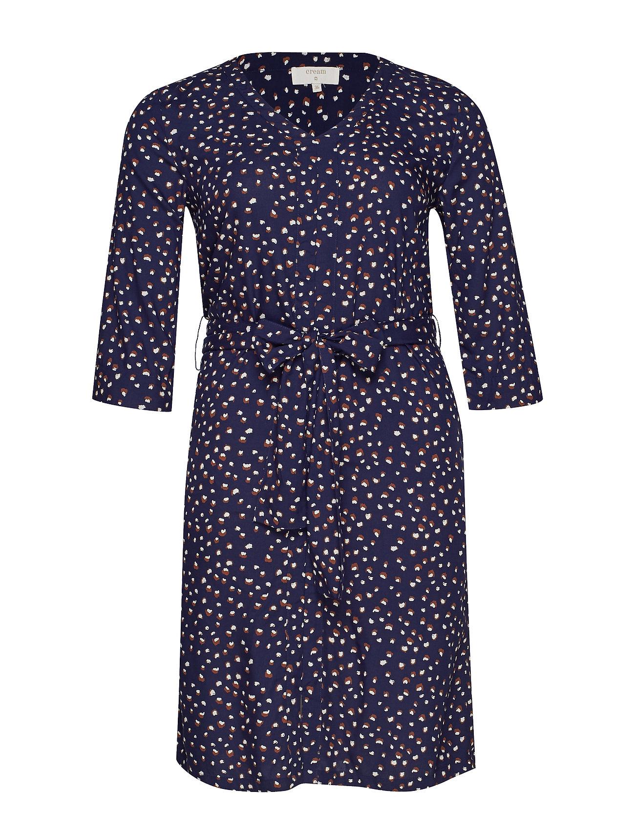Cream Gemina Tie Dress - MARITIME BLUE