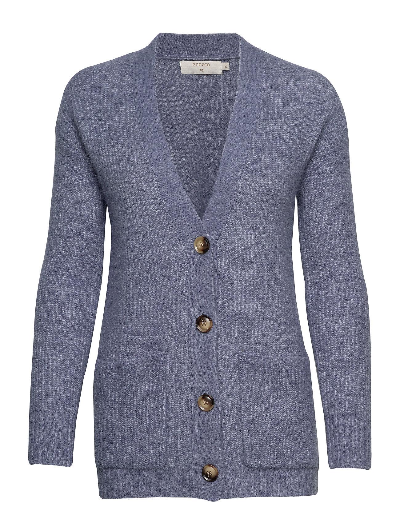 Cream Gina Oversize Knit Cardigan - INFINITY MELANGE BLUE