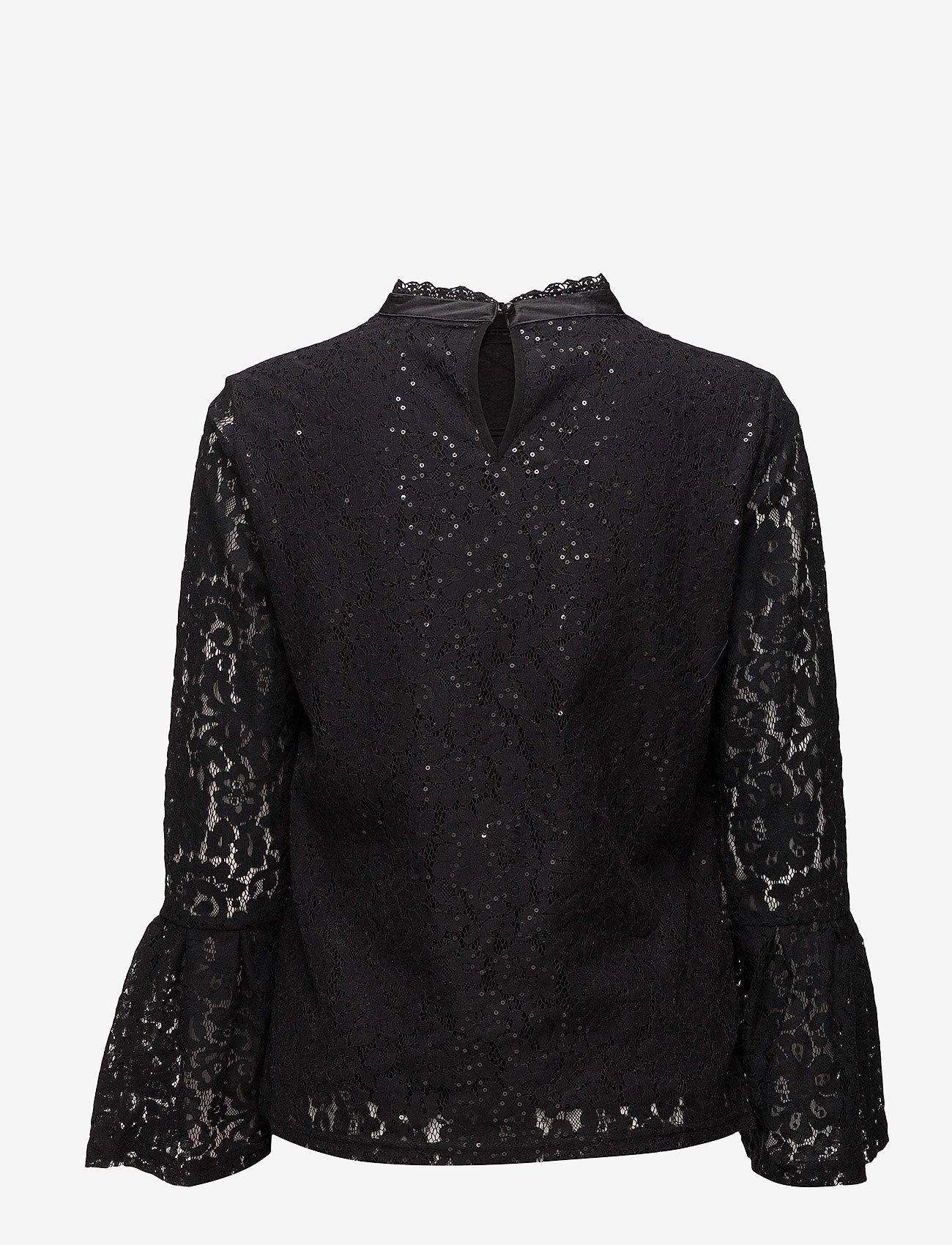 Cream - Izabel Sequin Blouse - blouses à manches longues - pitch black