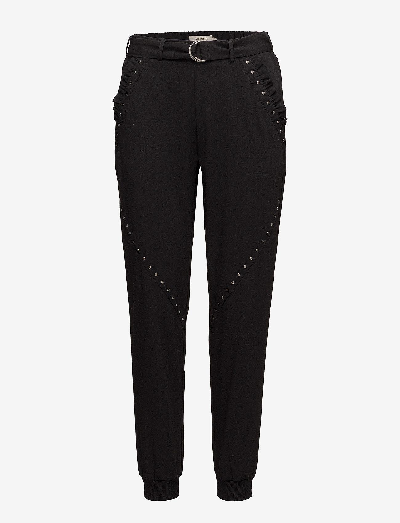 Cream - Veronica Baggy Pants - straight leg trousers - pitch black