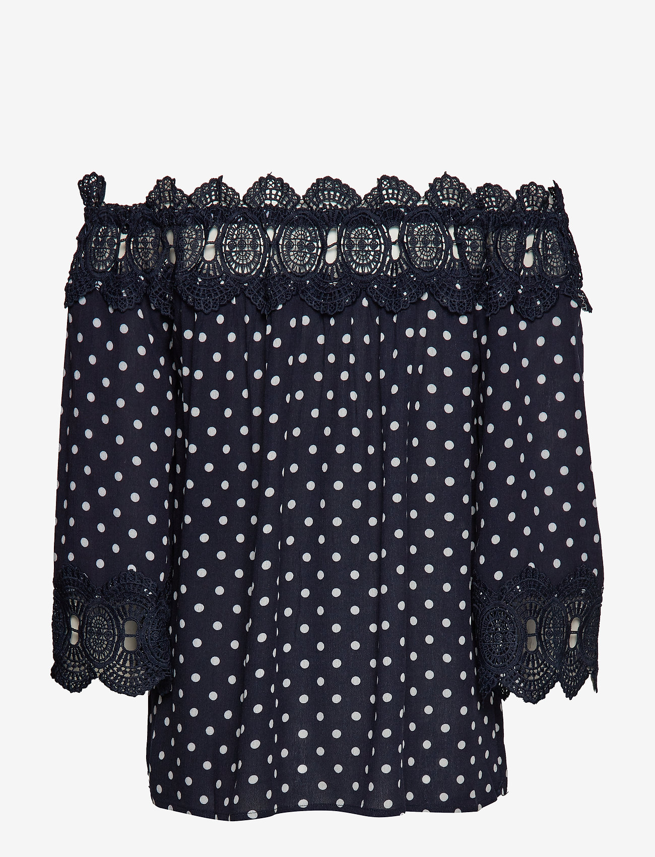 Cream - Bea Dot blouse - blouses à manches longues - royal navy blue with chalk dot