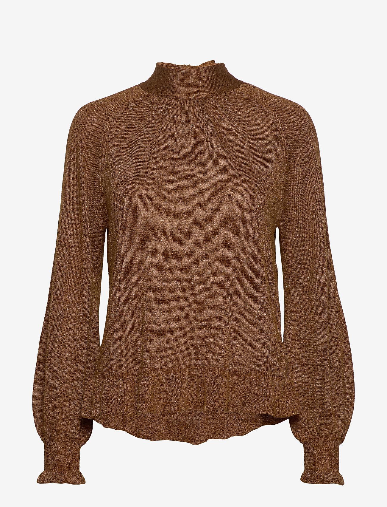 Cream - Jessica Knit Blouse - pitkähihaiset puserot - bronzed