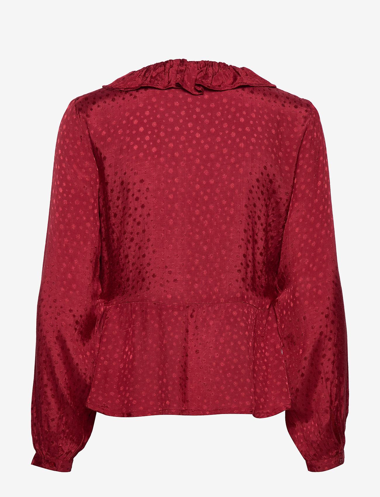 Cream - Sally Wrap Blouse - pitkähihaiset puserot - merlot red