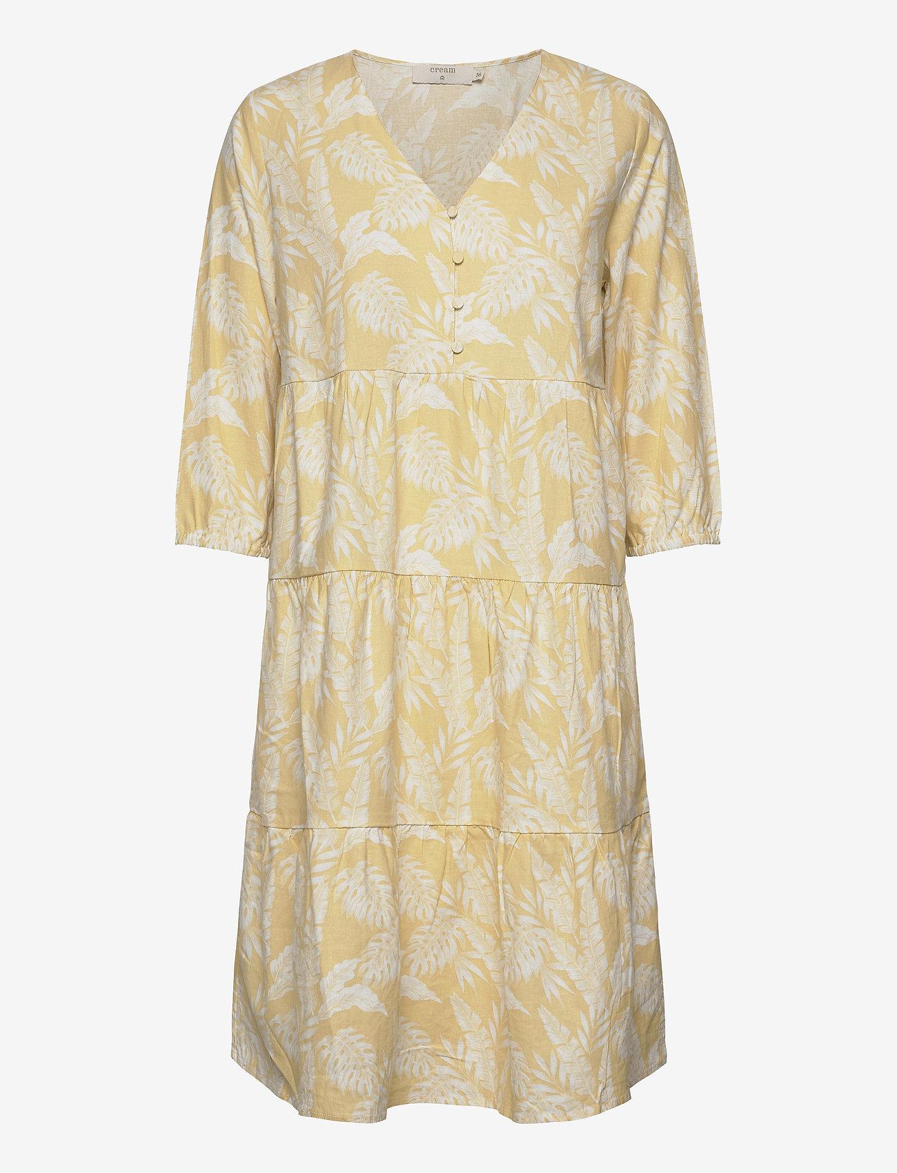 Cream - EstaCR Dress - do kolan & midi sukienki - yellow leaf print