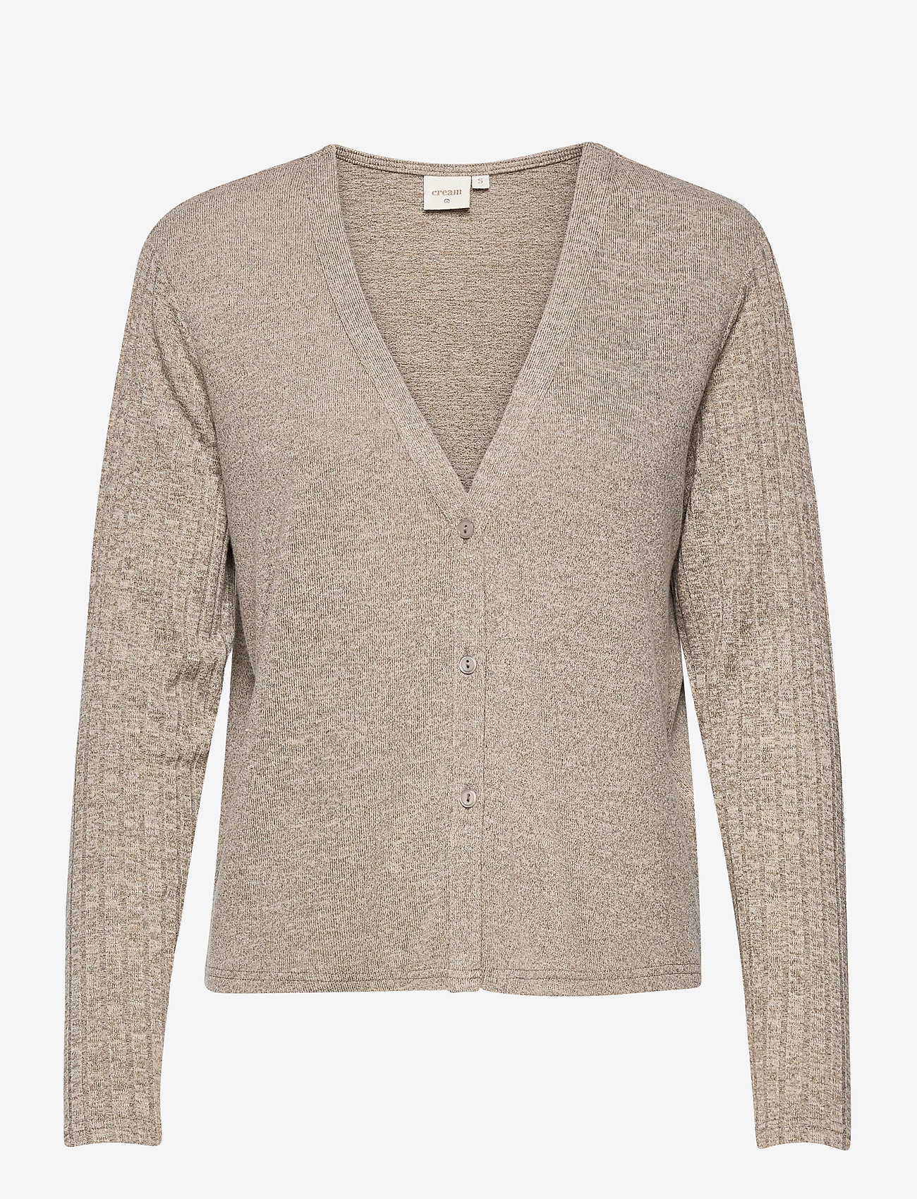 Cream - EmmyCR Short Cardigan - swetry rozpinane - sandshell melange - 0