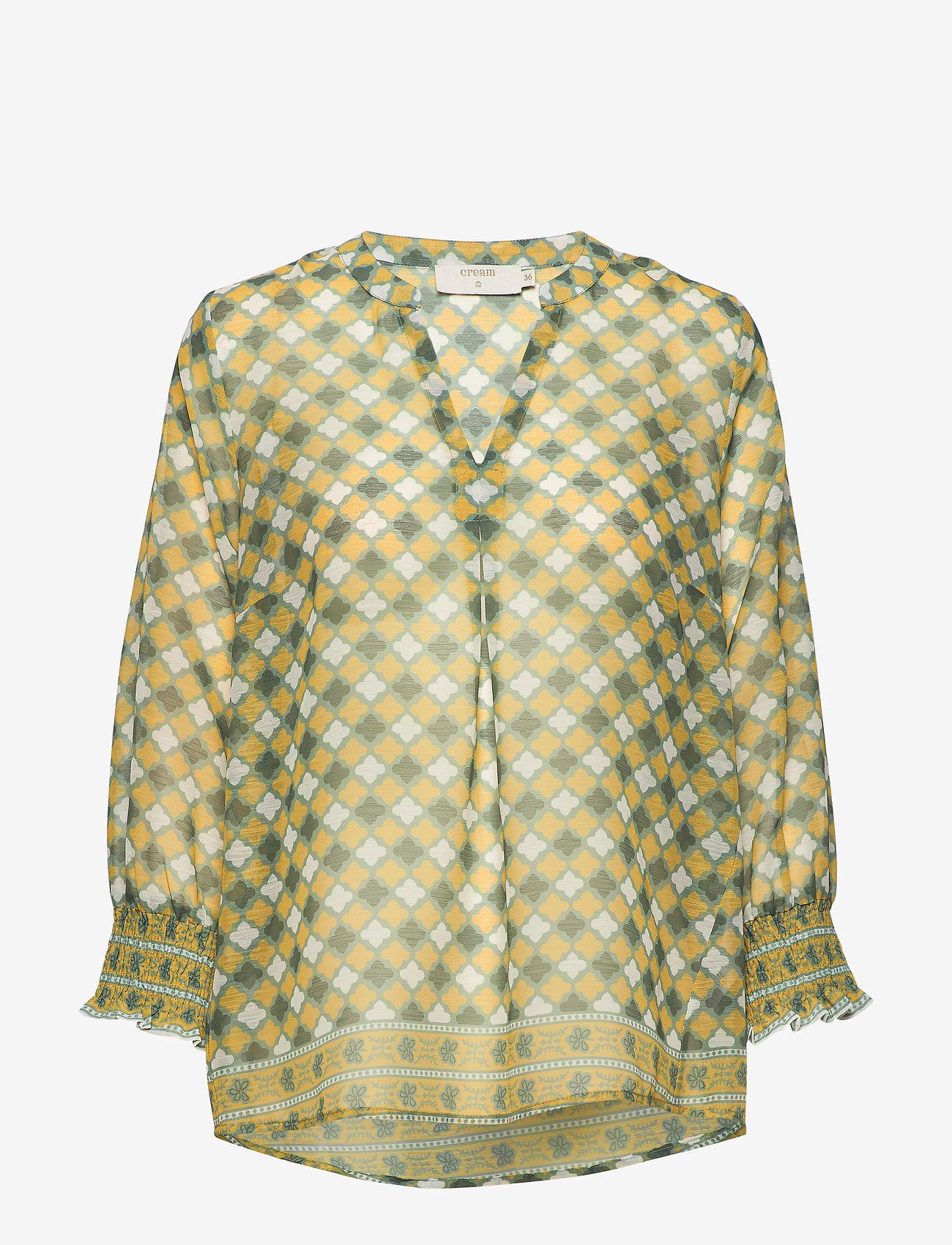 Cream - DaniCR Blouse - langærmede bluser - orange geometric - 0