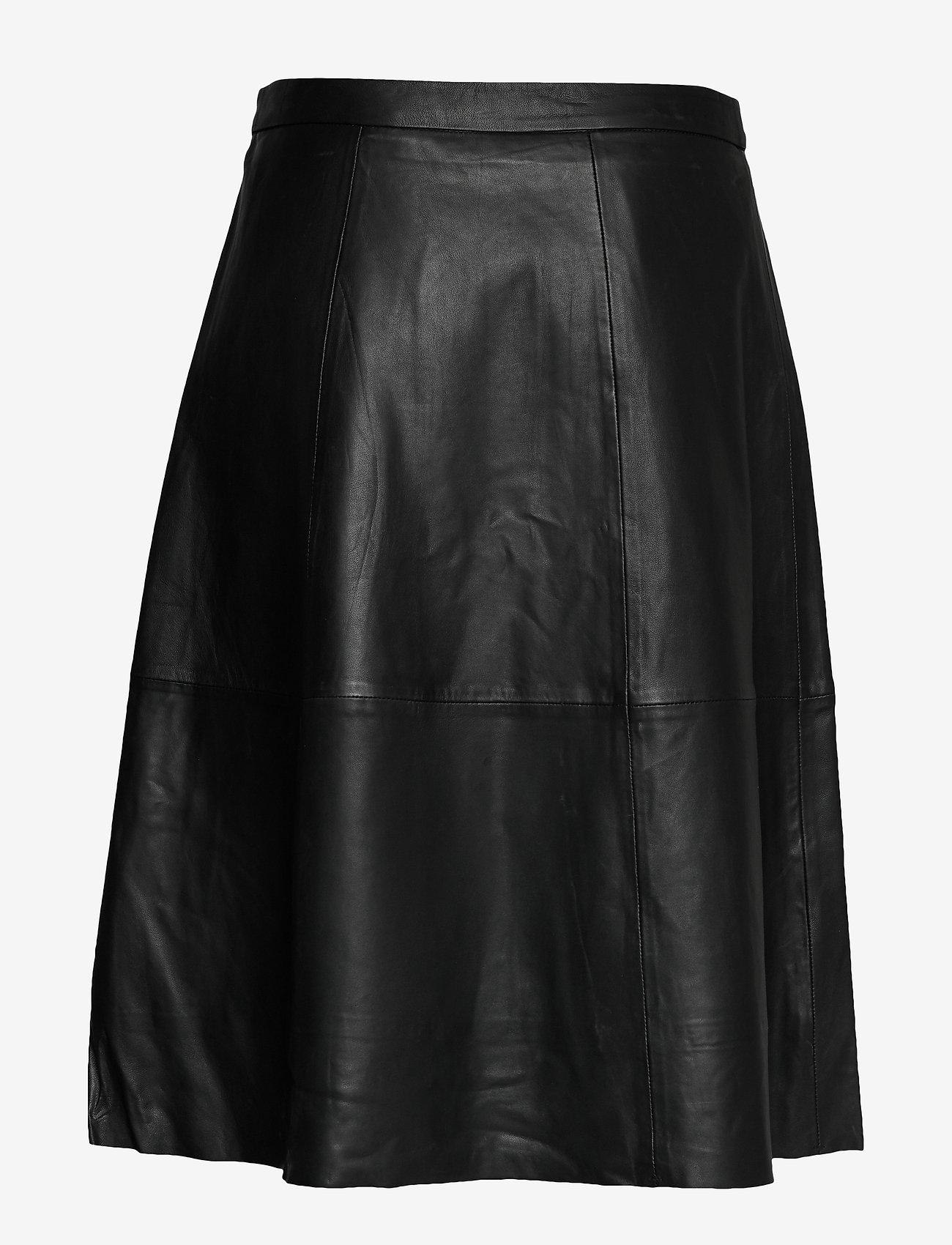 Simonecr Leather Skirt (Pitch Black) - Cream fzAEbZ
