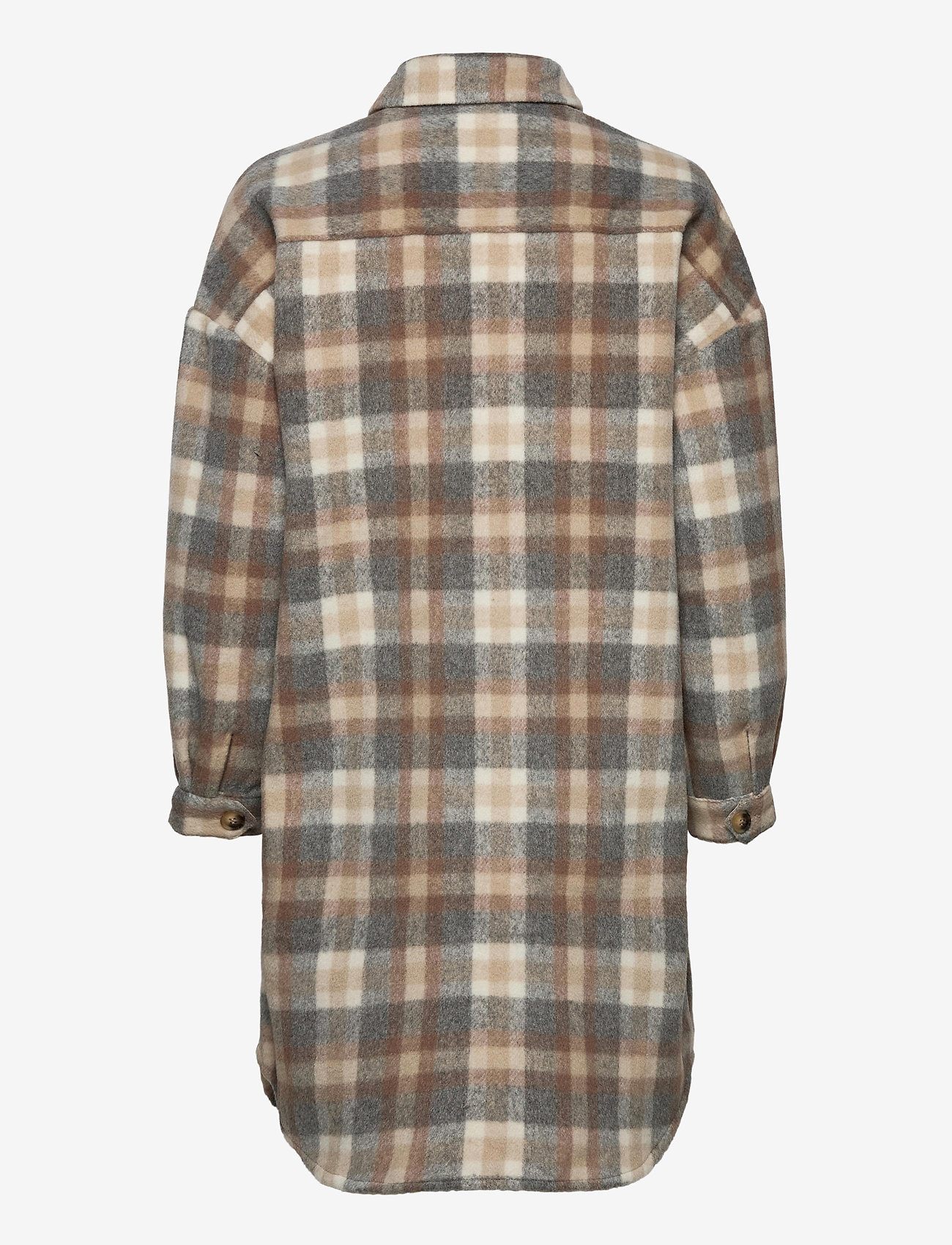 Cream - TaraCR OZ Shirt Jacket - overshirts - feather gray check - 1