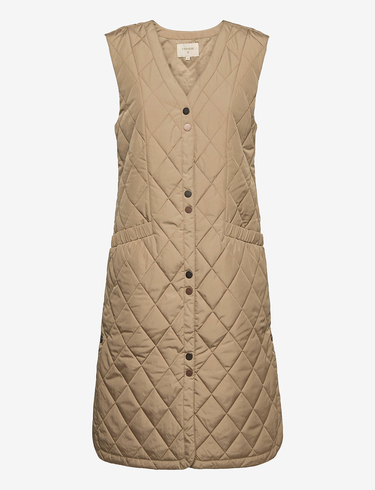 Cream - CRMelika Quilted Waistcoat - puffer vests - silver mink - 1