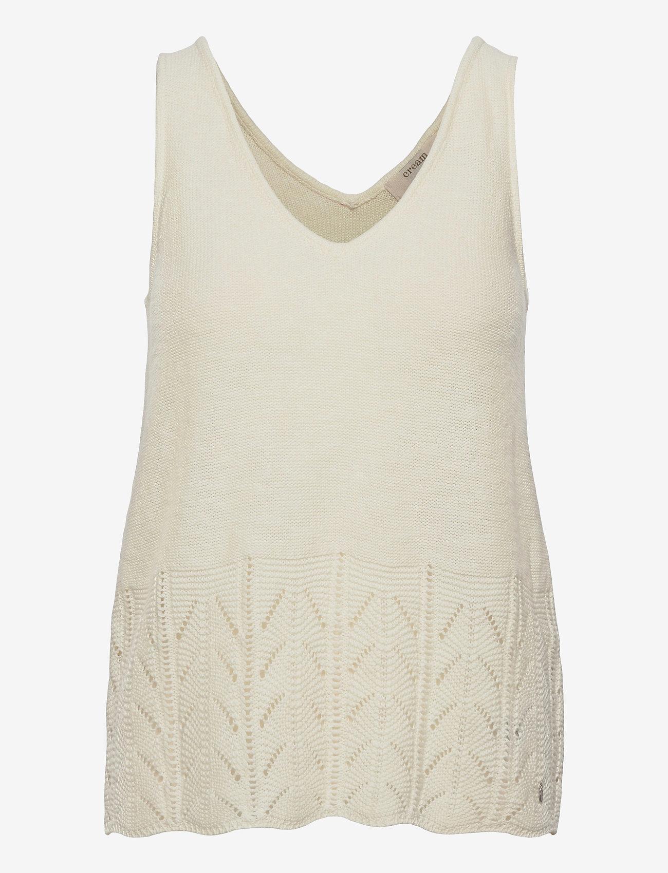 Cream - CRPina Knit Top - strikkede toppe - snow white - 0