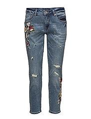Flower jeans- relax - MEDIUM BLUE DENIM