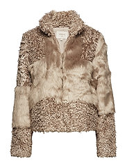 Cassie Fur Jacket - SIMPLY TAUPE