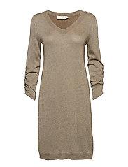 Serena Knit Dress - overknee 3/4 sl - BROWN GOLD
