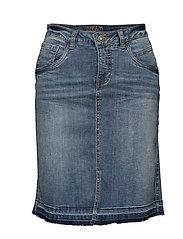 Denim Skirt W/O pearls - MEDIUM BLUE DENIM