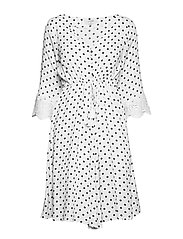 Bea Dot Dress - CHALK WITH BLACK DOTS