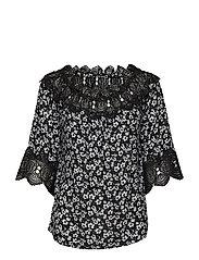 Bea print blouse - PITCH BLACK / PITCH BLACK LACE