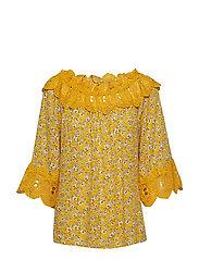 Bea print blouse - SUNNY YELLOW / YELLOW LACE