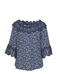 Bea print blouse - DEPTHS MARINE / MARINE LACE