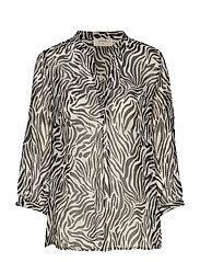 Sama Shirt l/s - PITCH BLACK / ZEBRA PRINT