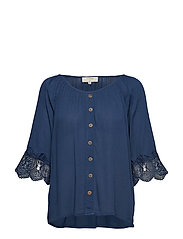 Bea button blouse - DARK DENIM