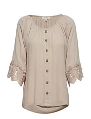 Bea button blouse - WARM SAND