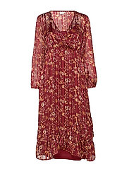 Nila Wrap Dress - MERLOT RED