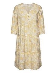 EstaCR Dress - YELLOW LEAF PRINT