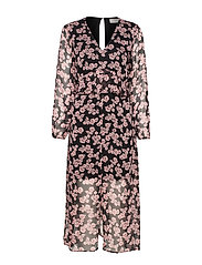 JapaCR Dress - ALLOVER PRINT BLACK/ROSA
