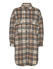 TaraCR OZ Shirt Jacket - FEATHER GRAY CHECK