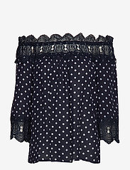 Cream - Bea Dot blouse - blouses à manches longues - royal navy blue with chalk dot - 0