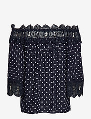 Cream - Bea Dot blouse - blouses à manches longues - royal navy blue with chalk dot - 1