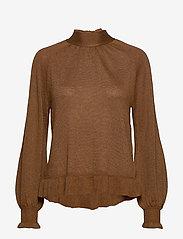 Cream - Jessica Knit Blouse - pitkähihaiset puserot - bronzed - 0