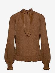 Cream - Jessica Knit Blouse - pitkähihaiset puserot - bronzed - 1