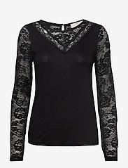 Cream - KaneCR Long Sleeve T-shirt - pitkähihaiset t-paidat - pitch black - 0