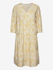 Cream - EstaCR Dress - do kolan & midi sukienki - yellow leaf print - 0