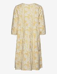 Cream - EstaCR Dress - do kolan & midi sukienki - yellow leaf print - 1