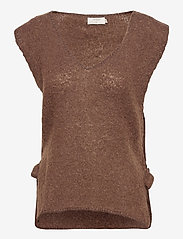 Cream - MaggieCR Sleeveless Pullover - knitted vests - carafe - 0