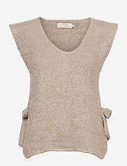 Cream - MaggieCR Sleeveless Pullover - knitted vests - feather gray - 0