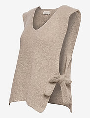 Cream - MaggieCR Sleeveless Pullover - knitted vests - feather gray - 2