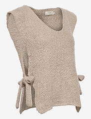 Cream - MaggieCR Sleeveless Pullover - knitted vests - feather gray - 3