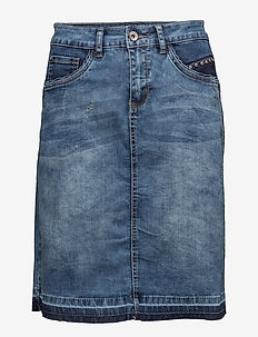 Patched denim Skirt - rich blue denim