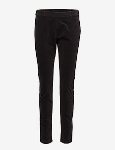 Belus velvet - kathy fit - slim fit spodnie - pitch black