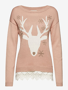 Reindeer Pullover - swetry - blush powder