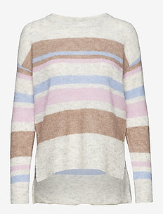 Zoey stripes knit pullover - LIGHT GREY MELANGE