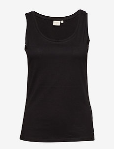 Naia o-neck tank top - sleeveless tops - pitch black
