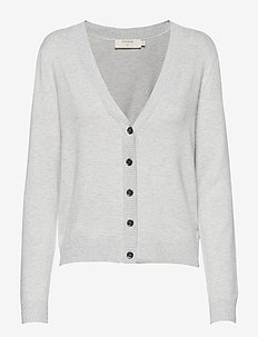 Simona Knit Cardigan - LIGHT GREY MELANGE