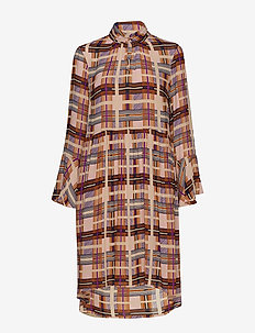 Checka Dress - DACHSHUND BROWN