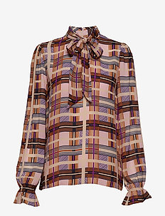 Checka Blouse - DACHSHUND BROWN